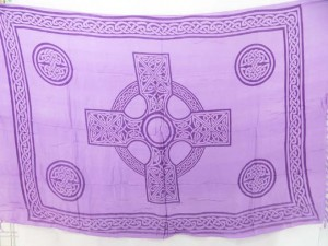 light purple sarong celtic cross madalas with celtic knotwork borders