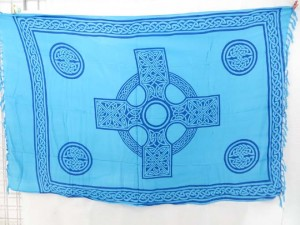 celtic cross madalas with celtic knotwork borders blue sarong