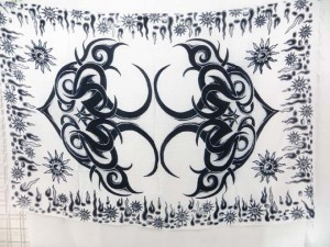 black white altar cloth wicca pagan wall hanging sarong