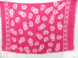pink and white hibiscus tropical floral wrap sarong pareo