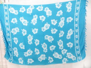 blue and white hibiscus tropical floral wrap sarong pareo