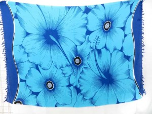 giant hibiscus flower blue dress pareos beachwear