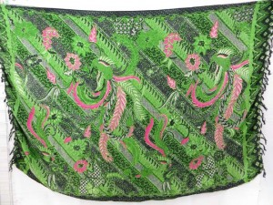 green traditional Indonesian sarong