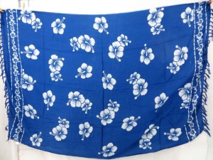 beachwrap cover-up blue hibiscus sarong