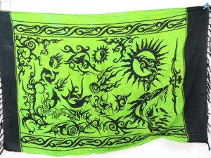 green primitive tribal arts sarong