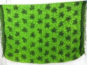 green sarong turtle sealife tahitian beach cover-up