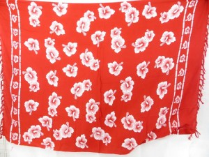 red and white hibiscus sarong bathing suit cover ups