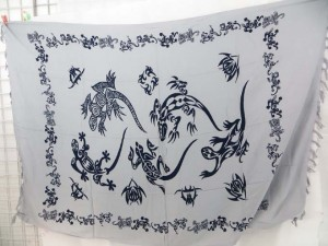 tribal gecko lizards black and white sarong