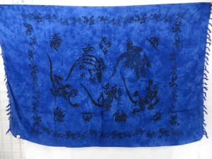 tribal gecko lizards black and blue sarong