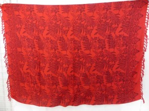 red sarong with floral and butterflies