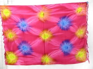 multiple color star burst tie dye sarong