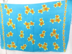 blue sarong with yellow plumier flowers