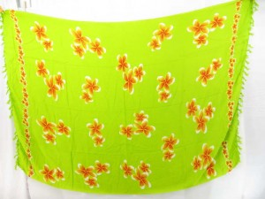 green bathing suit wrap with plumier flowers