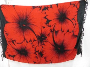black and red giant hibiscus sarong wrap
