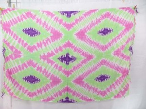light green and pink tie dye diamonds sarong wrap skirt cover-up