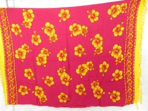fuchsia aloha skirt wrap with yellow hibiscus flowers