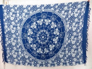 sarong pareo coverup with blue circle tranditional designs