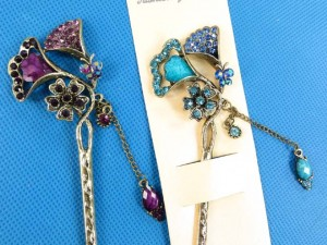 vintage retro rhinestone and faux gemstone hair sticks hair pins size around 2 inches wide, 6 inches long
