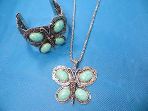 filigree retro vintage natural turquoise bangle, earring and necklace jewelry sets