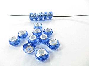 Blue faceted acrylic rhinestone bead