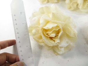 Beige color stylish rose flower corsage with glitter edging and elastic