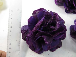Dark purple color stylish rose flower corsage with glitter edging and elastic