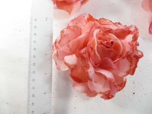 Light red color stylish rose flower corsage with glitter edging and elastic