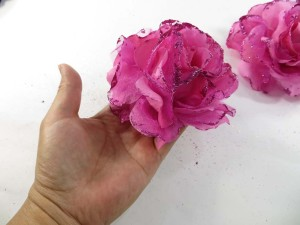 Hot pink color stylish rose flower corsage with glitter edging and elastic