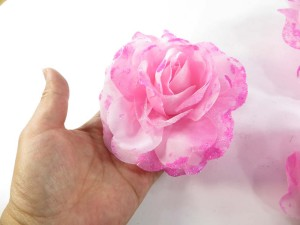 Pink color stylish rose flower corsage with glitter edging and elastic