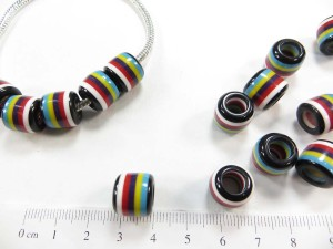 Multiple color lines acrylic bead