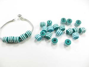Blue white color lines acrylic bead