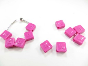 Pink color acrylic flat bead