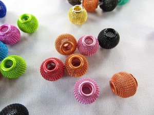 Mixed color basket ball wives mesh rondelle ball bead