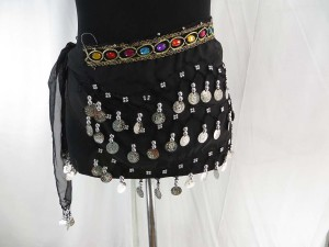 Belly dance hip scarf wrapping mini skirt with 3 layers of silver coin decoration and imitation gemstone jewel