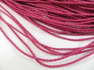 Hot pink color braided faux leather cord