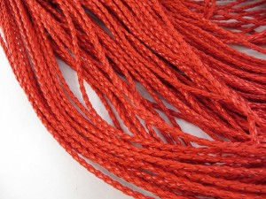 Red color braided faux leather cord
