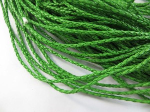 Green color braided faux leather cord