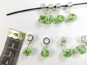 Alloy metal dangle charm bead with green cz crystal