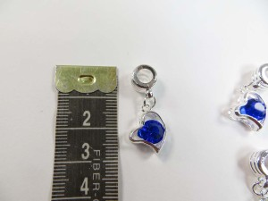 Alloy metal dangle charm bead with blue cz crystal heart