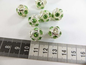 Alloy metal disco ball bead with green crystal rhinestone