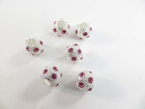 Alloy metal disco ball bead with pink crystal rhinestone
