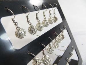 Clear color crystal rhinestone disco ball bead dangle earring