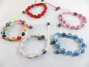 Crystal rhinestone disco ball bead macrame bracelet