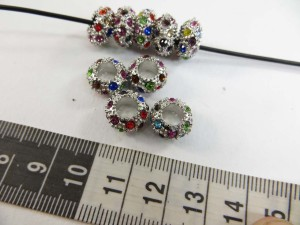 Multiple color crystal rhinestone alloy metal charm bead spacer