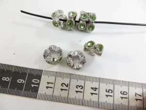 Green crystal rhinestone alloy metal charm bead spacer