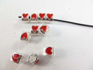 Enemal red heart alloy metal charm bead