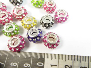 Mixed color crystal rhinestone bead with silver cord