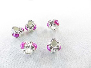 Alloy metal bead with pink faux pearl