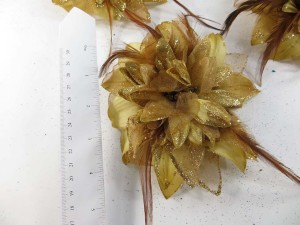 Golden yellow flower color corsage with glitter edging and feather