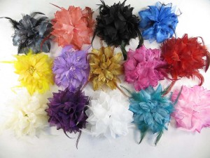 Mixed color flower corsage with glitter edging and feather